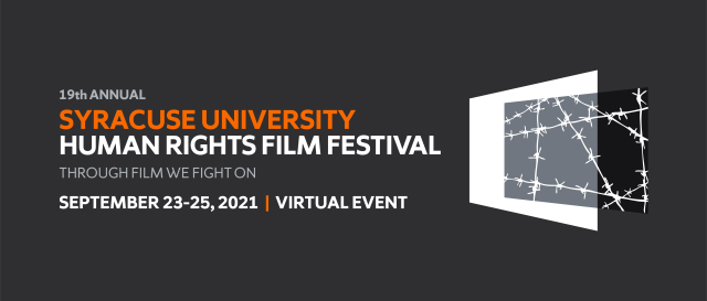 Syracuse University Human Rights Film Festival. Through Film we fight on. Promotional graphic with the image of barbed wire projected offset from a white screen.