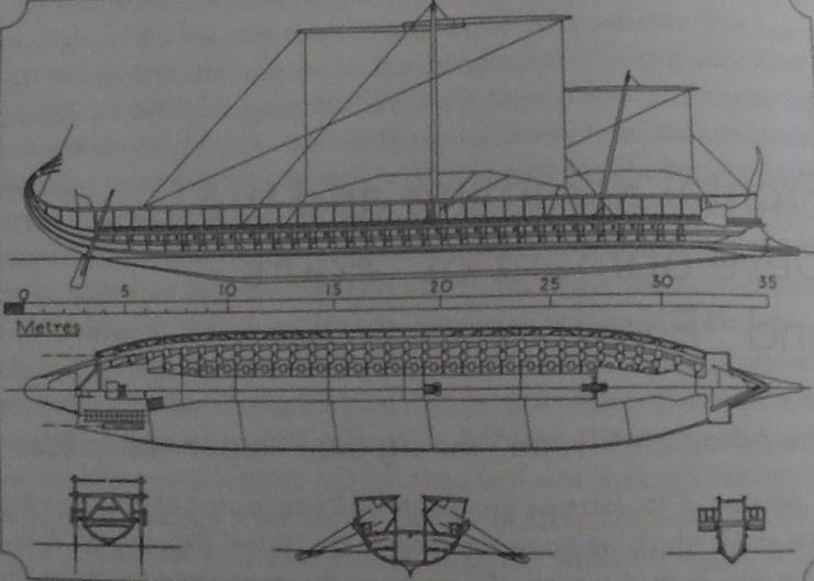 水中考古学 トライリム 三段櫂船 16