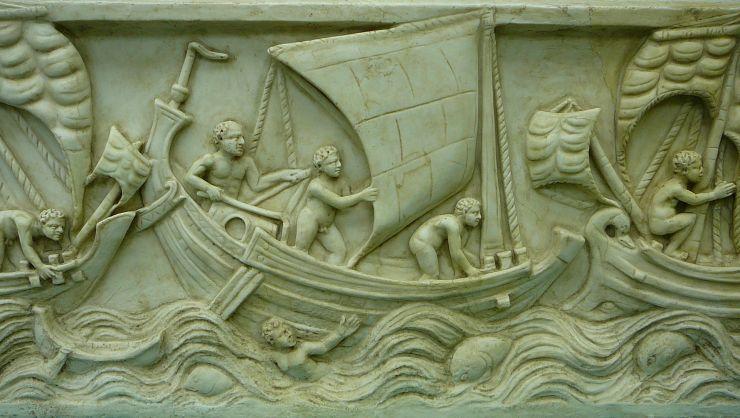 水中考古学 ローマ帝国 船 スプリット セイル