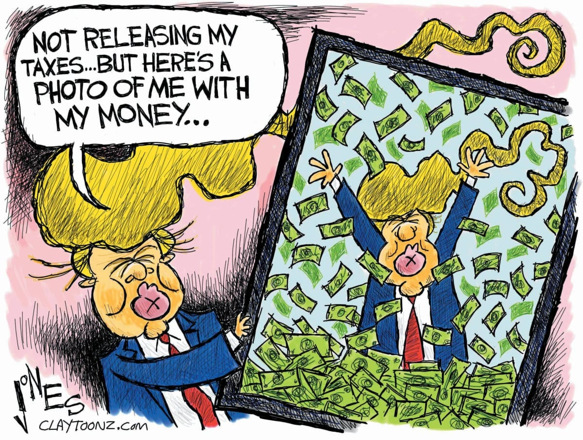 Image result for CARTOON TRUMP' TAXES