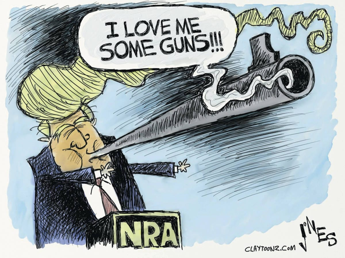 Donald Trump NRA political cartoon