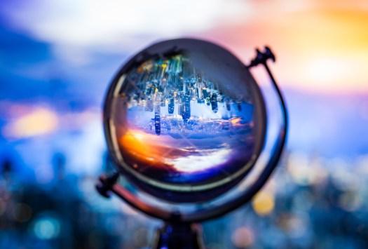Crystal globe reflection