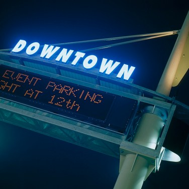 Seven monumental gateway signs welcome visitors to downtown and provide traffic and parking information