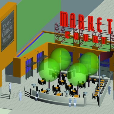 Market Court - A parking lot was transformed into an outdoor terrace for the historic Grand Central Market