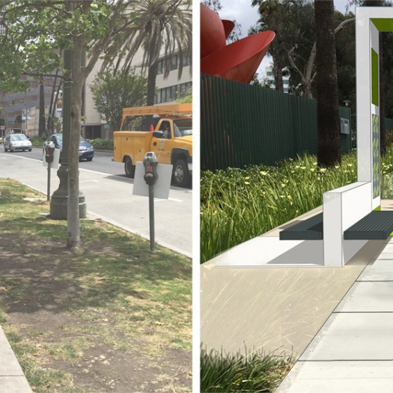 1-Minute Markers along Wilshire Blvd – before and after (rendering)