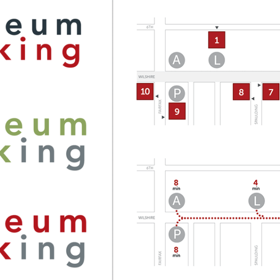 Museum parking logos and map