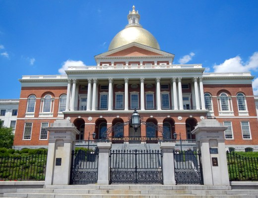 The spectacular shiny gold dome of the Massachusetts State House