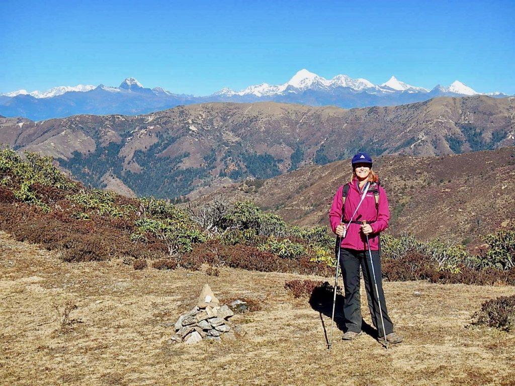 Wearing 5 layers hiking in the Himalayas in Bhutan.