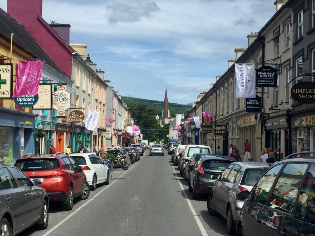 Looking down the main street of Kenmare in Ireland's County Kerry, where the Ring of Beara bike ride started.
