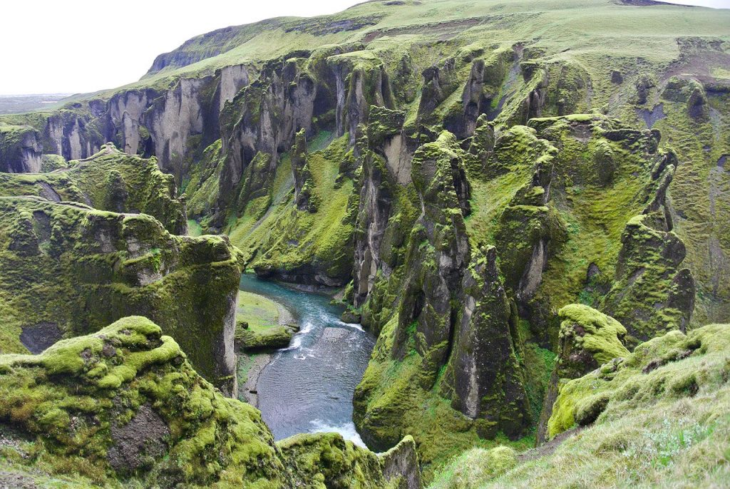 The Fjaðrárgljúfur Canyon in south east Iceland.