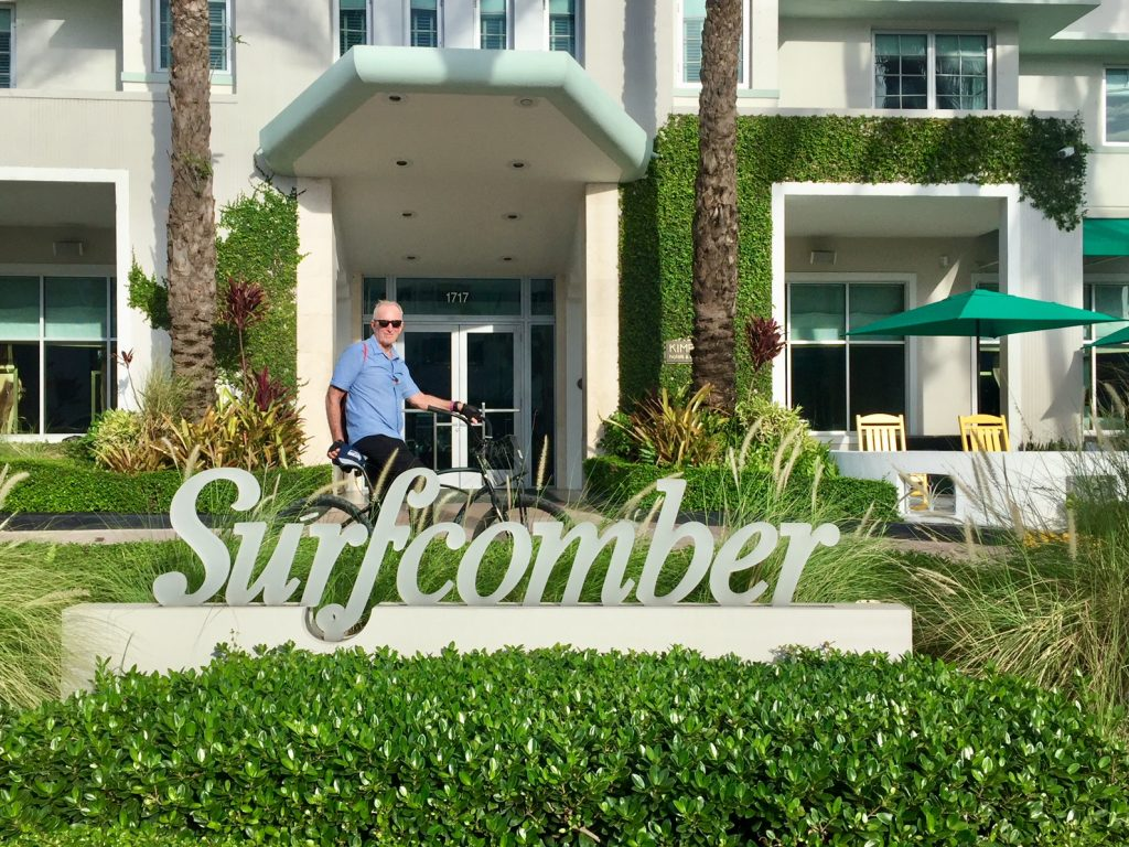 The Art Deco Surfcomber Hotel South Beach Miami which is one of many beautiful art deco hotels on Collins Avenue.