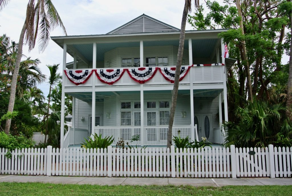 One of the many grand white homes in the Truman Estate in Old Town Key West.