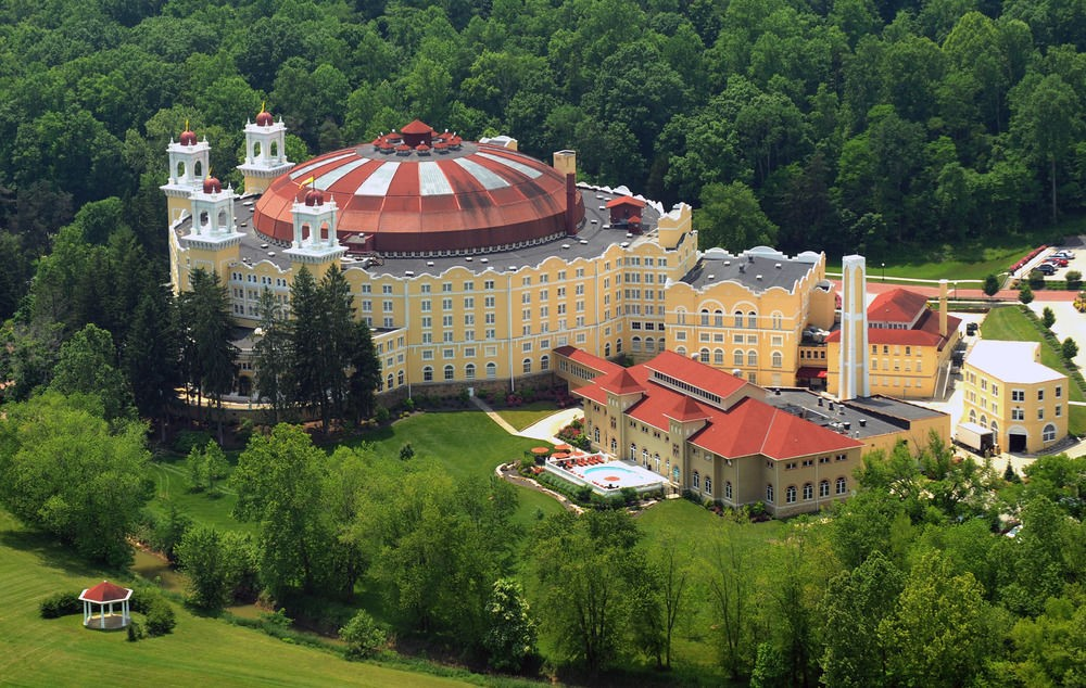 A photo of the exterior of west baden springs hotel included in this indiana travel guide
