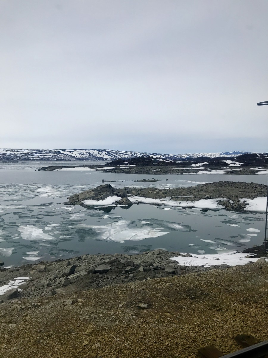 Views of snow and ice on the train ride from Oslo to Bergen