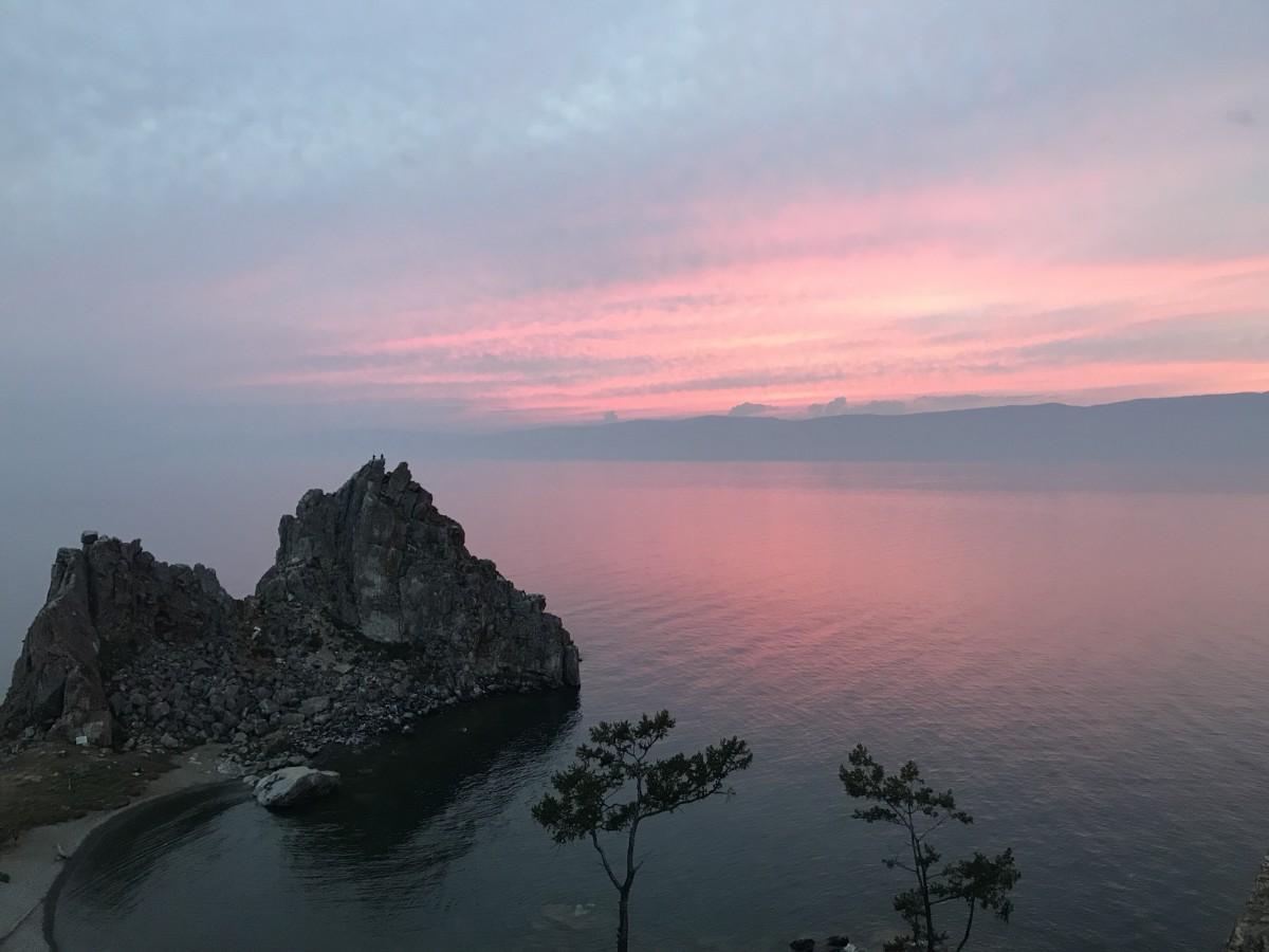 Sunset views on Olkhon Island at Lake Baikal, Russia.
