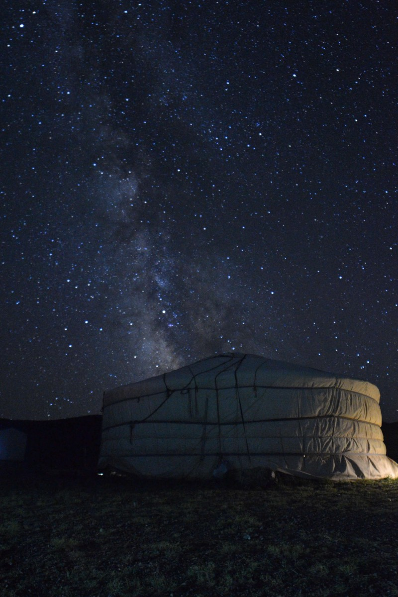 A ger in Mongolia highlighted underneath the stars of the Milky Way