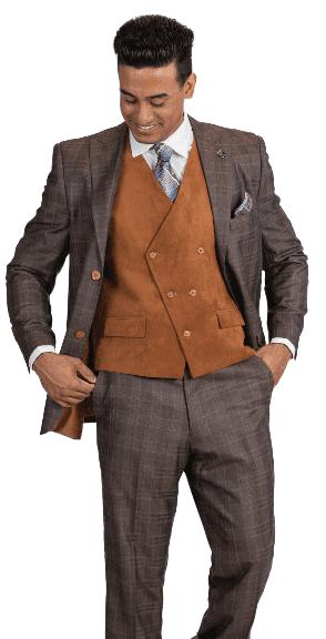 Stacy Adams DB Suede Vest Suit – 5912-ROYCV