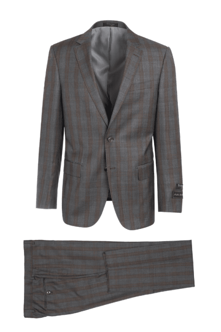 Tiglio Luxe Gray with Brown Windowpane Suit – Novello LG2458F/111/3