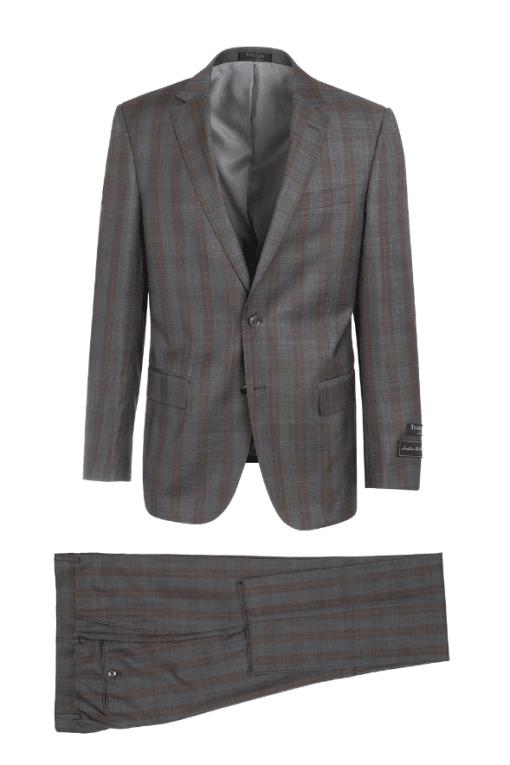 Tiglio Luxe Gray with Brown Windowpane Suit – Novello LG2458F/111/3
