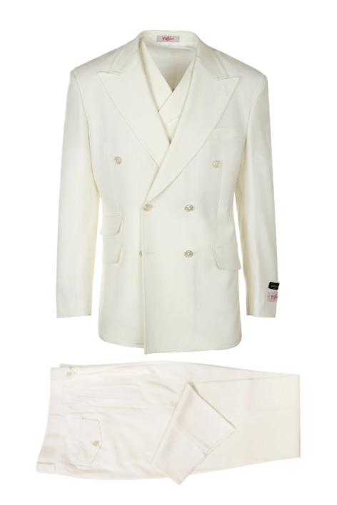 6de697d67cd3 Tiglio Russo Wide Leg Double Breast Suit & Vest Off White – EST OFF-WHITE