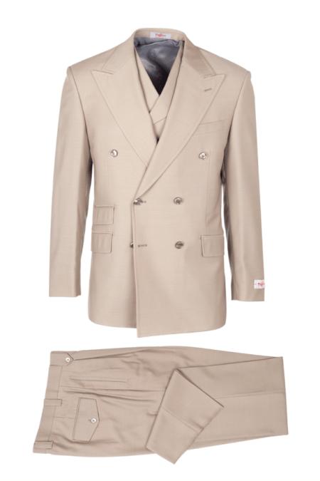 EST TIG1004, Pure Wool, Wide Leg Suit & Vest by Tiglio Rosso