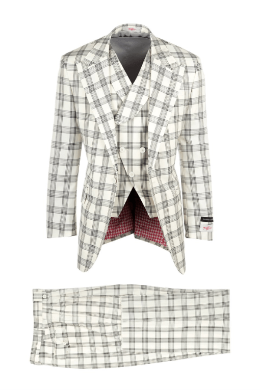 New Rosso Offwhite with Black Windowpane, Pure Wool, Wide Leg Suit & Vest by Tiglio Rosso V986.436_1