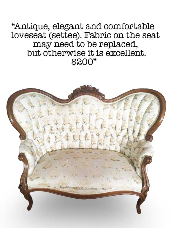 Antique Love Seat available for sale on Craigslist