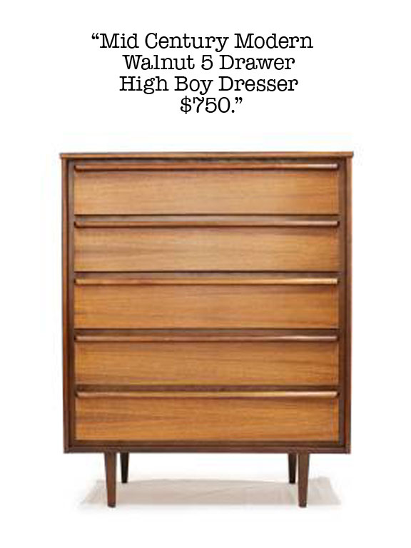 Mid-century modern dresser available for sale on Craigslist