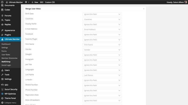 Merge User Meta Data to Mailchimp via Ultimate Member