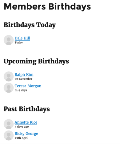 Celebrations Customized List