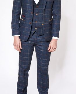 Eton Navy Check Tweed Three Piece Suit Suit Distributors Cork