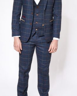 Eton Navy Check Tweed Three Piece Suit - Suits Distributors Ireland