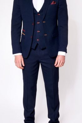 JD4 Navy Contrast Trim Three Piece Suit Suit Distributors Cork