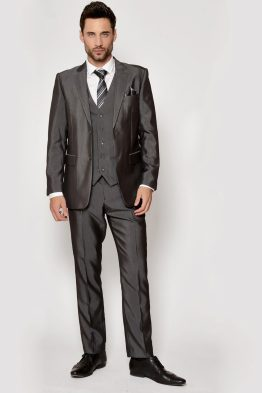 Suits Distributors - Men's Stylish Suits Cork - Rocky Grey Three Piece Flat Suit