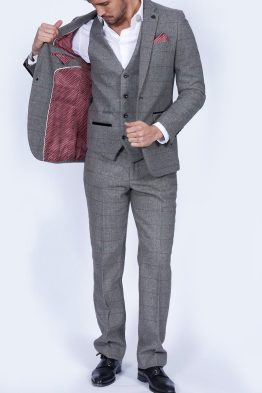 Dion Grey Herringbone Tweed Three Piece Suit | Suits Distributors Cork
