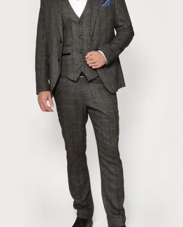 DX7 Charcoal Tweed Herringbone Three Piece Suit | Suits Distributors Cork