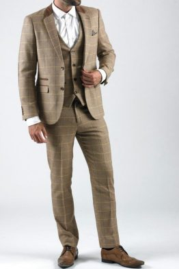 DX7 Oak Tweed Herringbone Check Three Piece Suit | Suits Distributors Cork