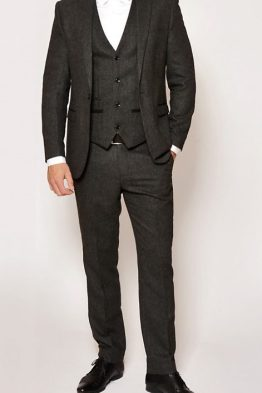 Mason Charcoal Tweed Wing Collared Three Piece Suit | Suits Distributors Cork