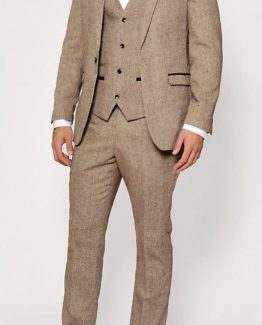 Mason Tan Tweed Wing Collared Three Piece Suit | Suits Distributors Cork