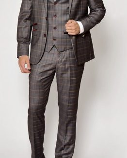 Patrick Grey Check Print Three Piece Suit | Suits Distributors Cork