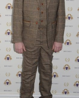 TED - Childrens Tan Tonal Check Tweed Three Piece Suit Suits Distributors Ireland