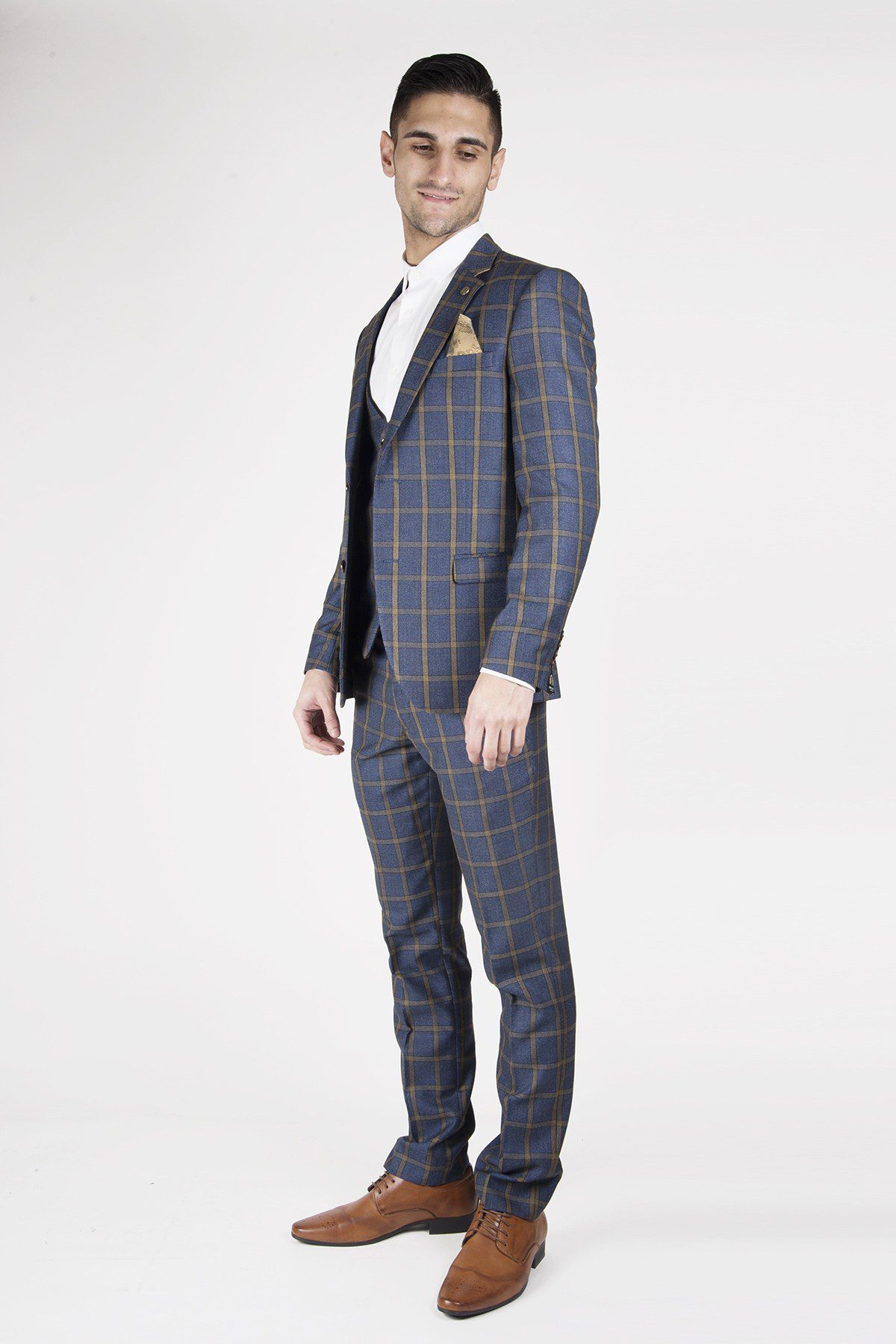 aad63df566d1 Roman Blue Windowpane Check Print Three Piece Suit | Suits Distributors