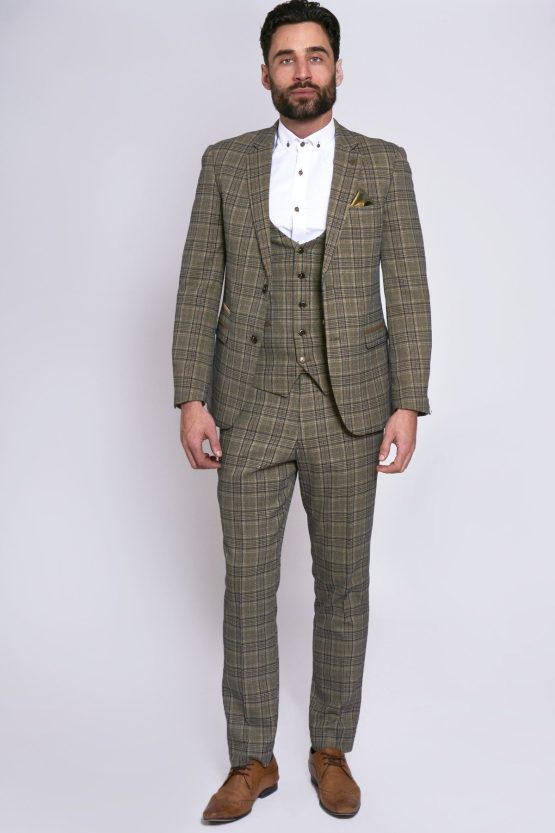 Enzo Tan Tweed Check Three Piece Suit | Men's Suits Cork | Suits Distributors