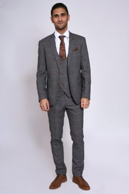 Jenson Grey Check Suit With Double Breasted Waistcoat | Suits Distributors Cork