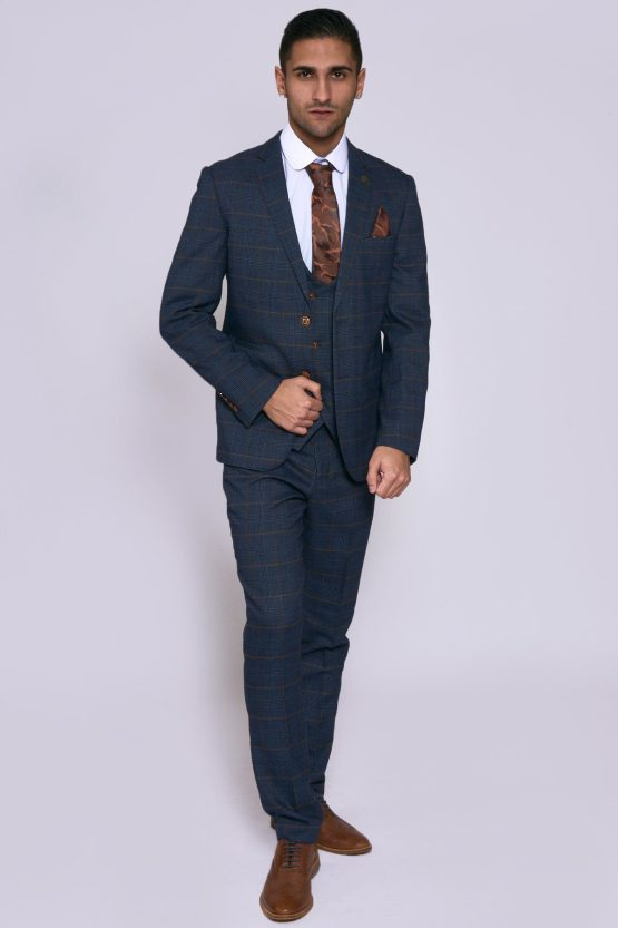 Jenson Navy Check Suit With Double Breasted Waistcoat | Suits Distributors Cork