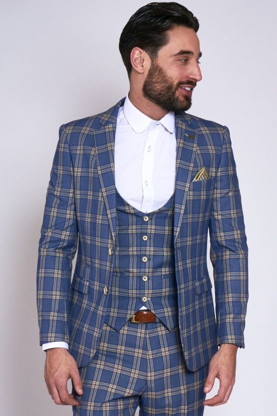 Tony Blue Yellow Check Suit With Single Breasted Waistcoat | Suits Distributors