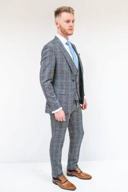 Jack Doyle Grey Blue Check 3 Piece Suit | Wedding Suits | Suits Distributors Cork