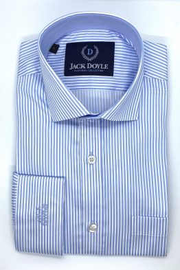 Suits Distributors - Men's Wedding Suits Cork - Jack Doyle Blue Striped Shirt With Pocket 1