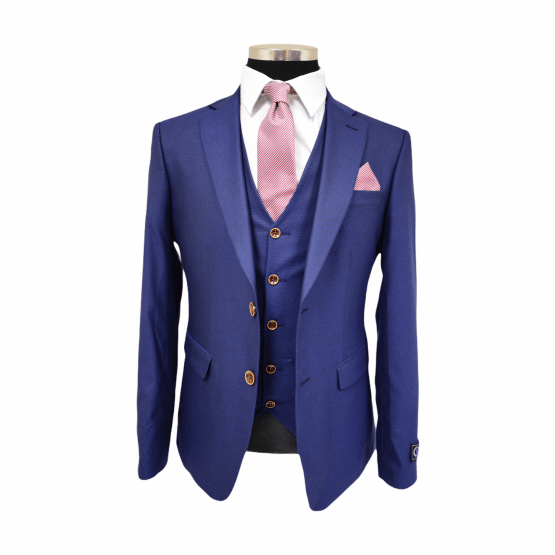 Suits Distributors Cork - Wedding Business Corporate Graduation Suits Cork - Jack Doyle Navy Three Piece Print Suit With Brown Buttons 1