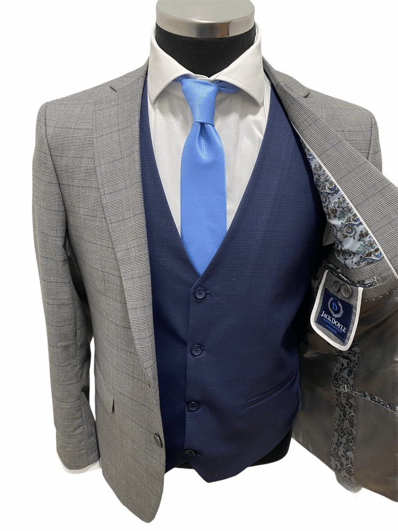 Jack Doyle Light Grey Subtle Check Three Piece Suit With Contrasting Navy Waistcoat